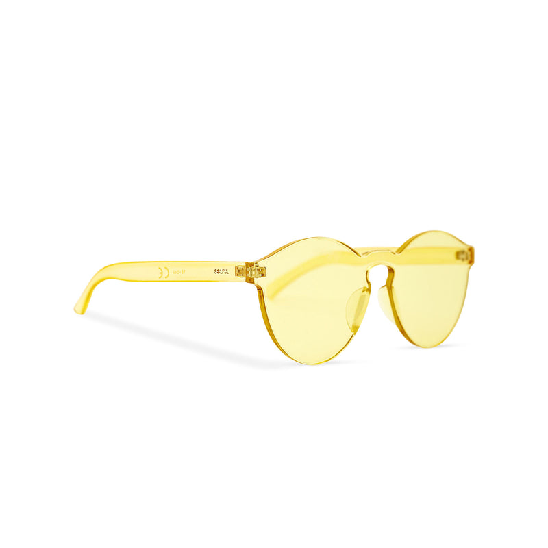 SOLFUL side view solid transparent yellow plastic sunglasses perfect party Ibiza rave day and night sunglasses PASTIKA