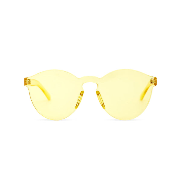 SOLFUL Full solid transparent yellow plastic sunglasses perfect party Ibiza rave day and night sunglasses PASTIKA
