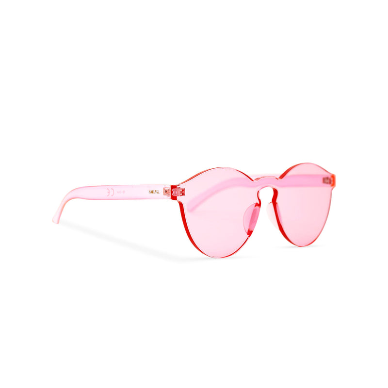 SOLFUL side view solid transparent pink plastic sunglasses perfect party Ibiza rave day and night sunglasses PASTIKA