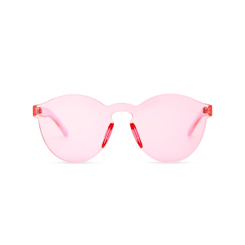 SOLFUL Full solid transparent pink plastic sunglasses perfect party Ibiza rave day and night sunglasses PASTIKA