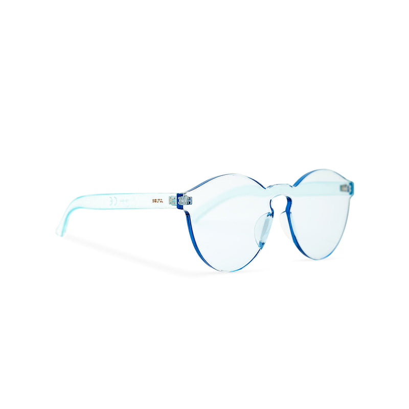 Side solid transparent blue plastic sunglasses perfect party Ibiza rave day and night sunglasses PASTIKA