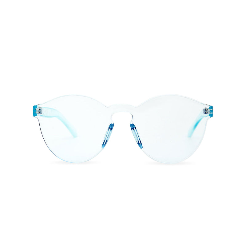 SOLFUL Full solid transparent blue plastic sunglasses perfect party Ibiza rave day and night sunglasses PASTIKA