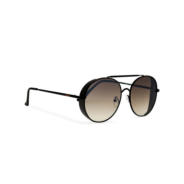 Aviator steampunk sunglasses with black metal frame and dark lens with small metal shields ROCCO side view