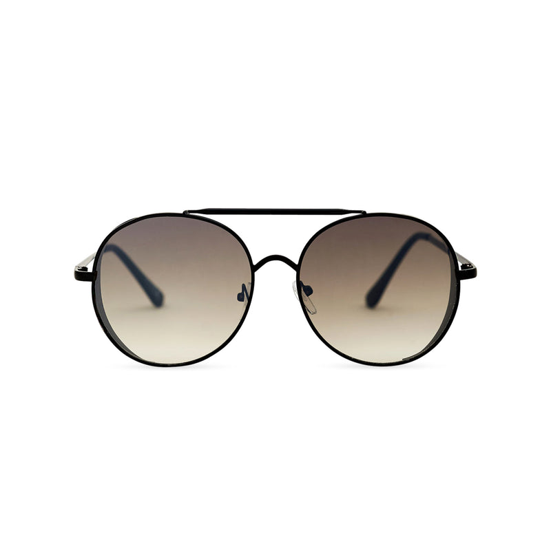 Aviator browline steampunk sunglasses with black metal frame and dark lens with small metal shields
