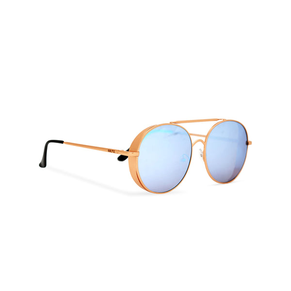 Aviator steampunk sunglasses with gold metal frame and blue mirror lens with small metal shields ROCCO side view