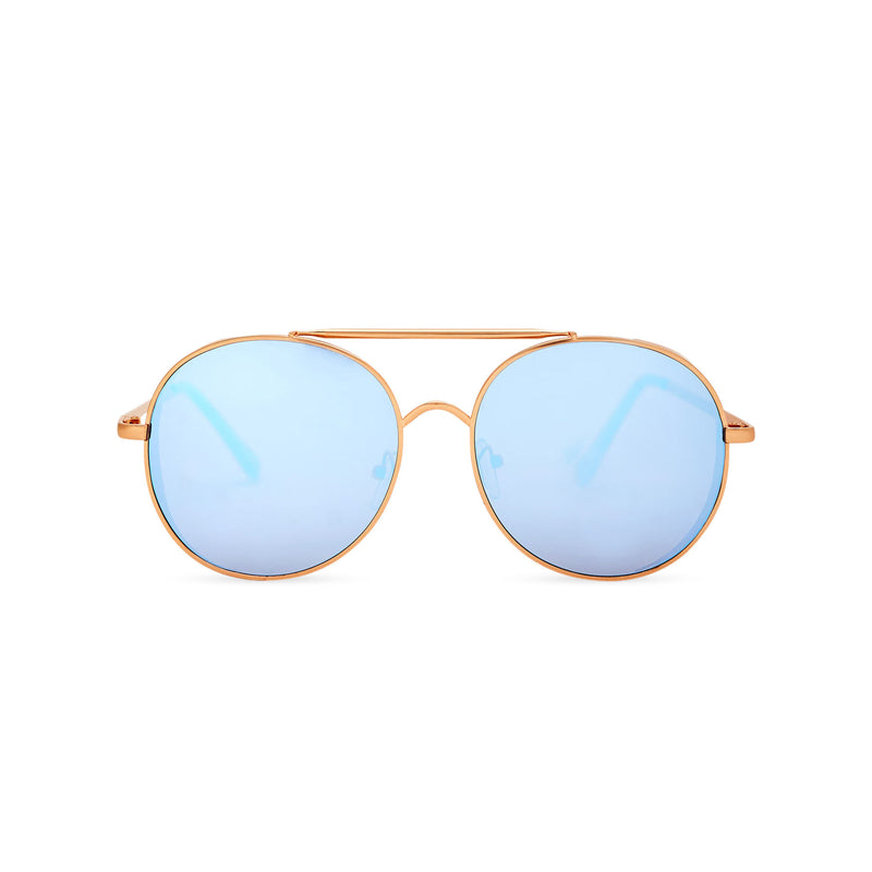 Aviator steampunk sunglasses with gold metal frame and blue mirror lens with small metal shields ROCCO by SOLFUL Ibiza