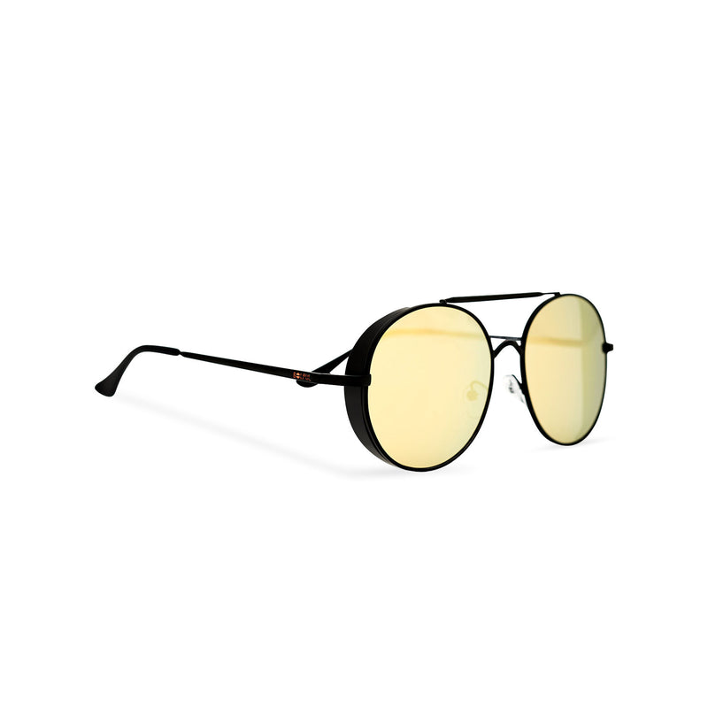 Aviator steampunk sunglasses with black metal frame and yellow-orange lens with small metal shields ROCCO side view