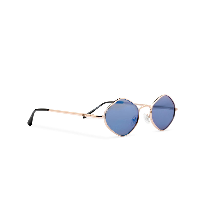 Side hexagon sunglasses with thin gold metal frame and dark turquoise lens, CUIDADO by SOLFUL