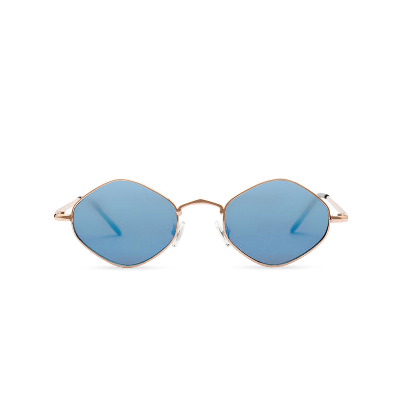 Hexagon sunglasses with thin gold metal frame and dark turquoise lens, CUIDADO by SOLFUL front view