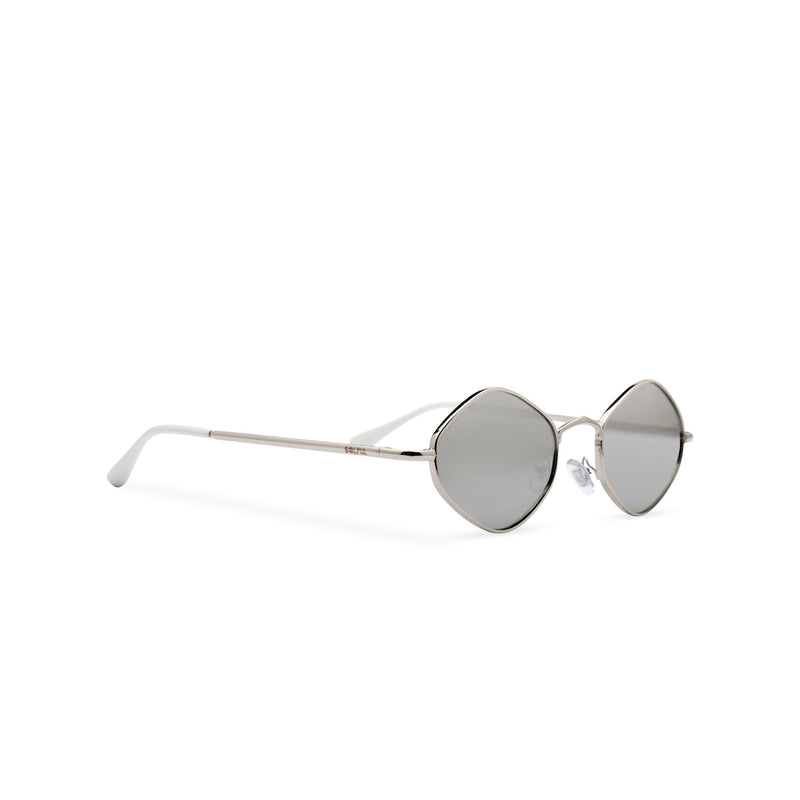 Hexagon sunglasses with thin gold metal frame and silver-grey lens, side CUIDADO by SOLFUL