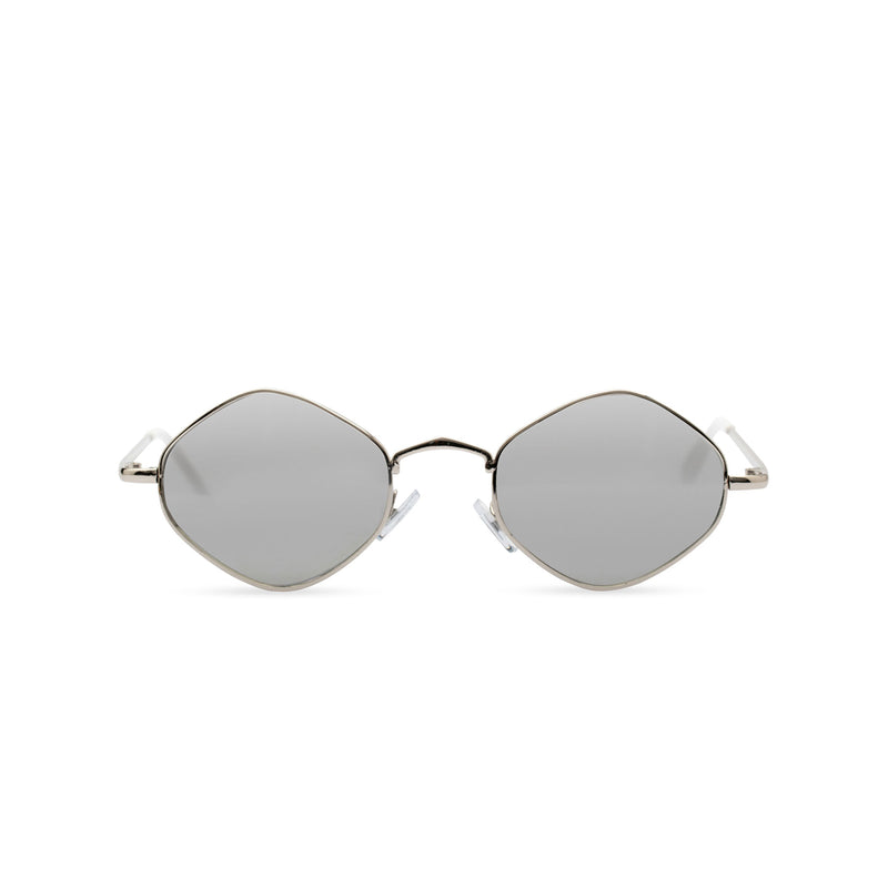 Hexagon sunglasses with thin gold metal frame and silver-grey lens, CUIDADO by SOLFUL front view