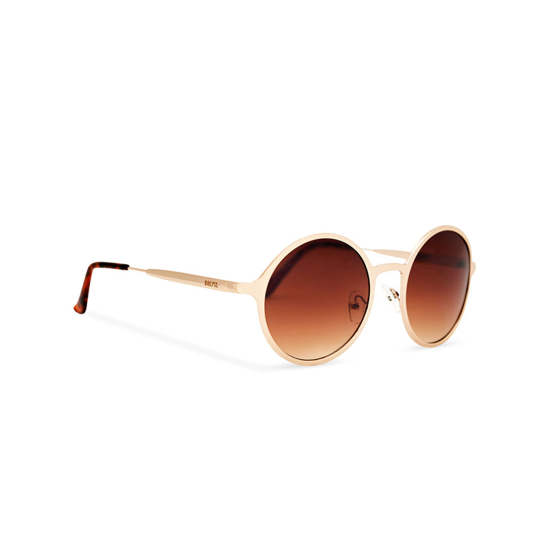 Side view SOL a classic round brown vintage retro hippie sunglasses by SOLFUL Ibiza