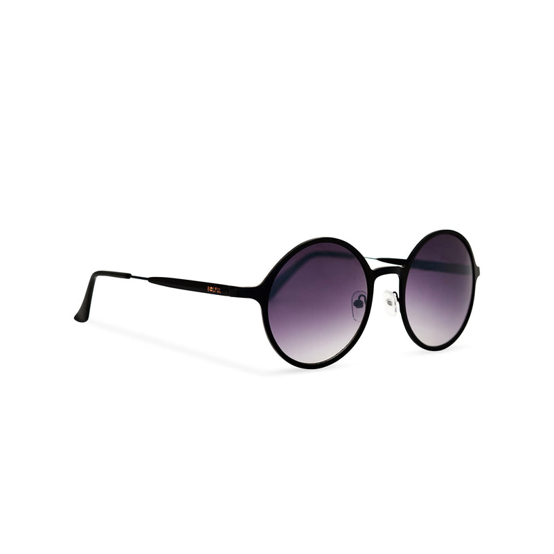 Side view classic round black frame purple lens vintage retro hippie sunglasses by SOLFUL Ibiza