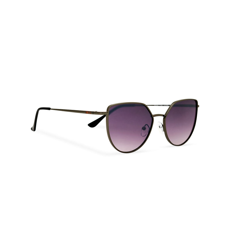 Women thin metal cat eye sunglasses with purple violet transparent lens SOLLY by SOLFUL Ibiza side view