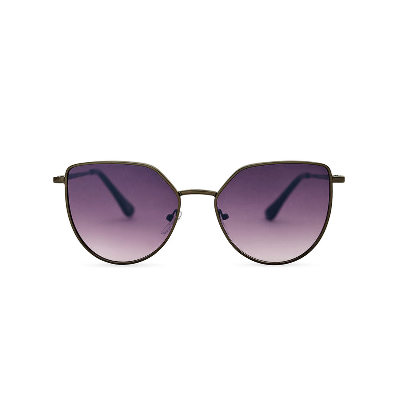 Women thin metal cat eye sunglasses with purple violet transparent lens SOLLY by SOLFUL Ibiza