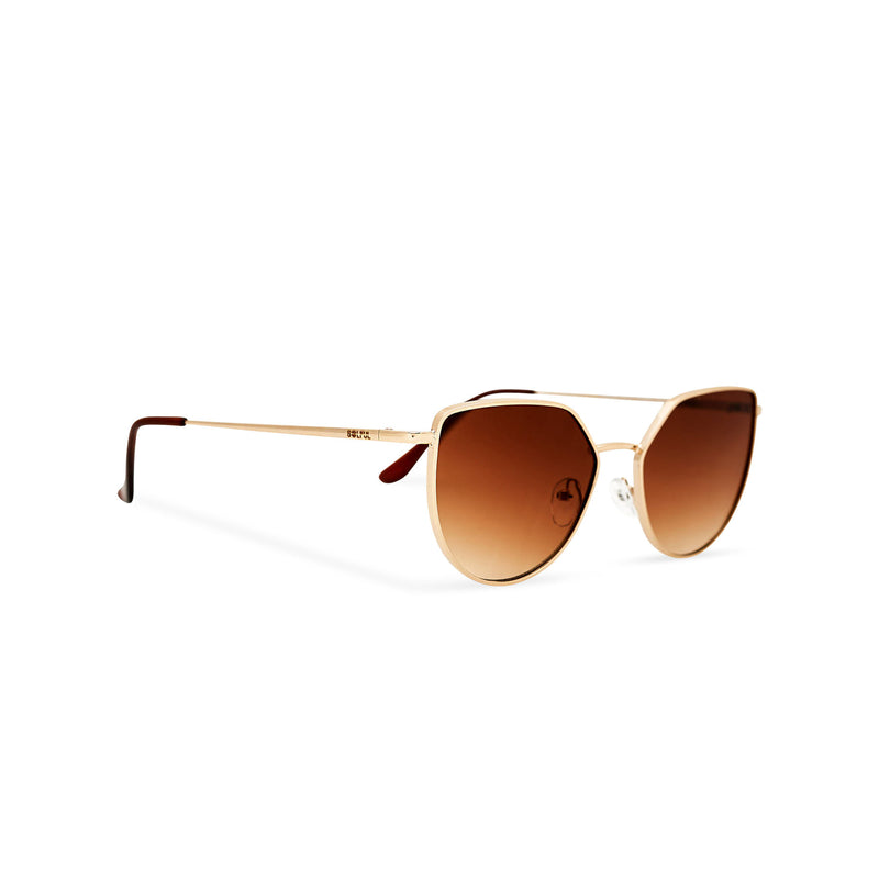 side view women gold cat eye sunglasses with brown transparent lens SOLLY by SOLFUL Ibiza