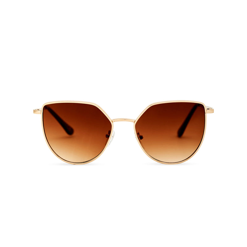 Women gold metal cat eye sunglasses with brown transparent lens SOLLY by SOLFUL Ibiza