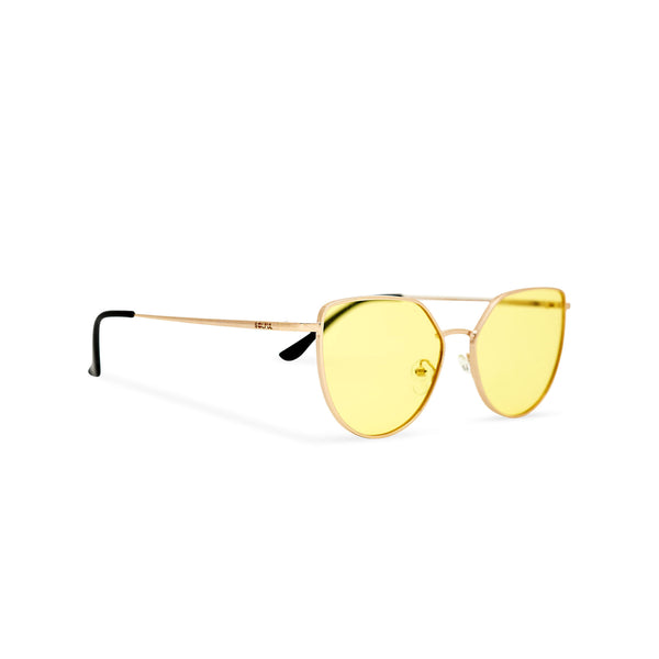 Women gold cat eye sunglasses with yellow transparent lens SOLLY by SOLFUL Ibiza side view