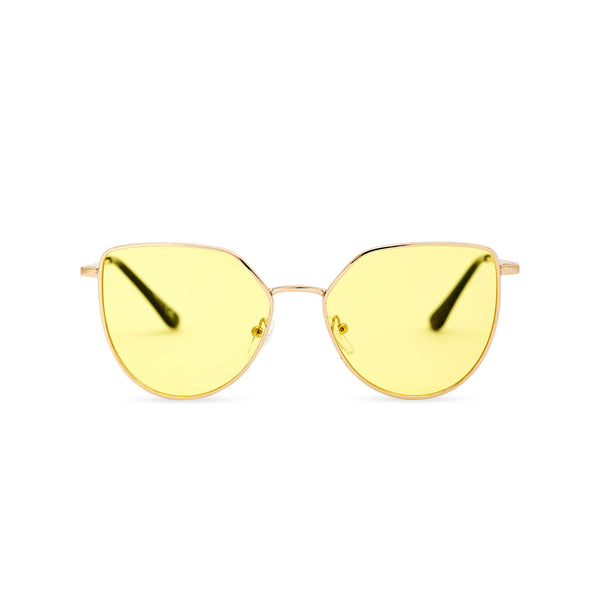 Women gold cat eye sunglasses with yellow transparent lens SOLLY by SOLFUL Ibiza