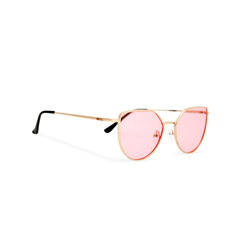 Women gold cat eye sunglasses with pink transparent lens SOLLY side view