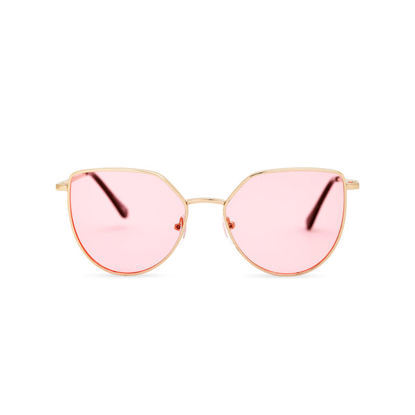 Women gold cat eye sunglasses with pink transparent lens SOLLY by SOLFUL Ibiza
