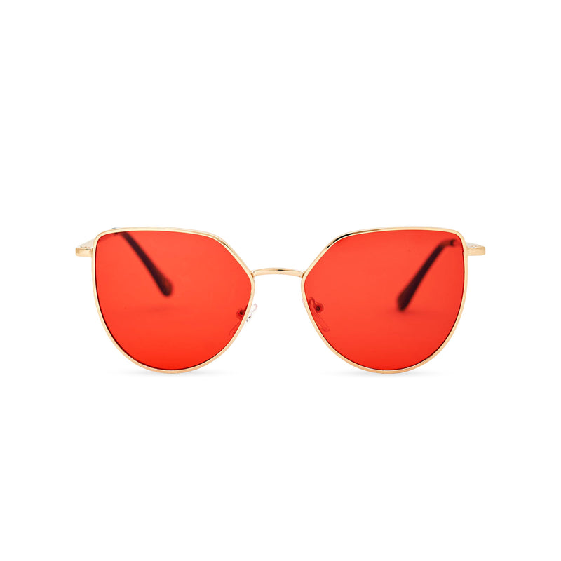 Women thin metal cat eye sunglasses with red transparent lens SOLLY by SOLFUL Ibiza
