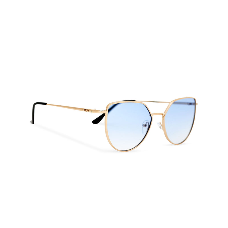 Women thin metal cat eye sunglasses with blue transparent lens SOLLY by SOLFUL Ibiza side view