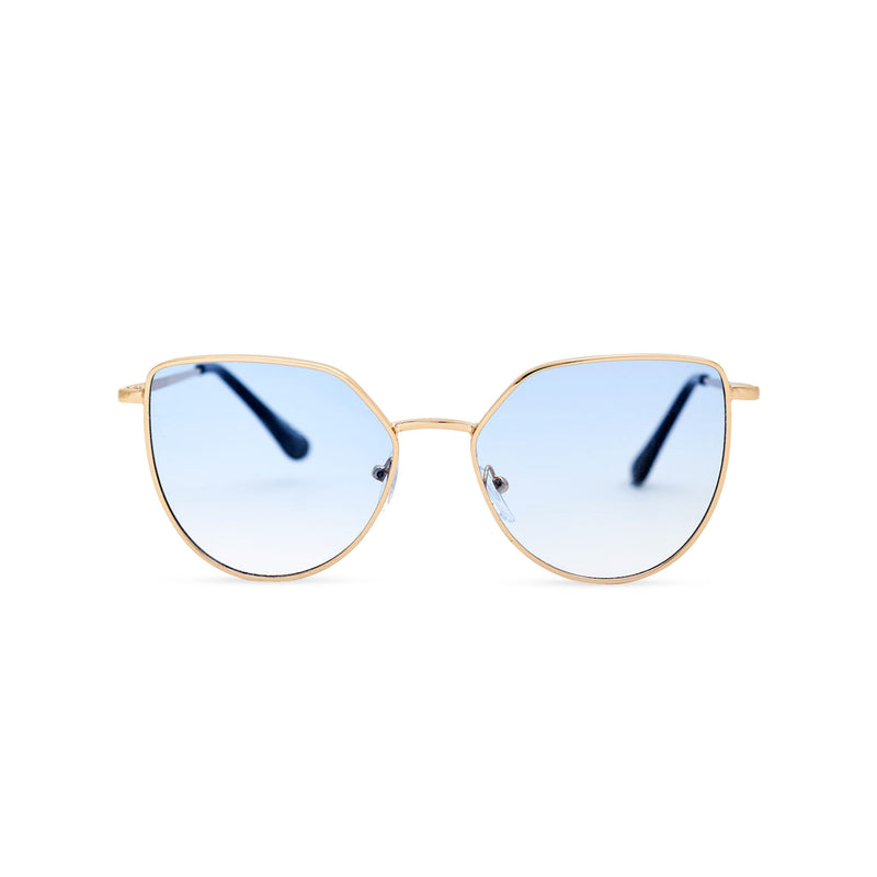 Women thin metal cat eye sunglasses with blue transparent lens SOLLY by SOLFUL Ibiza