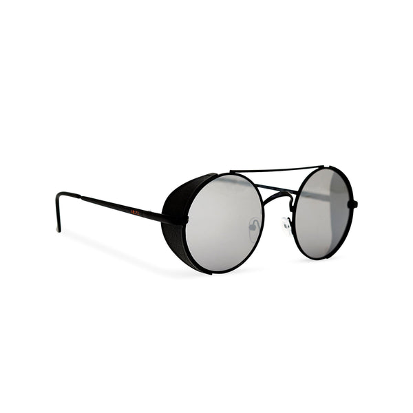 Angle shot Black metal steampunk sunglasses with metal side-shields and grey lens STORMY by SOLFUL Ibiza
