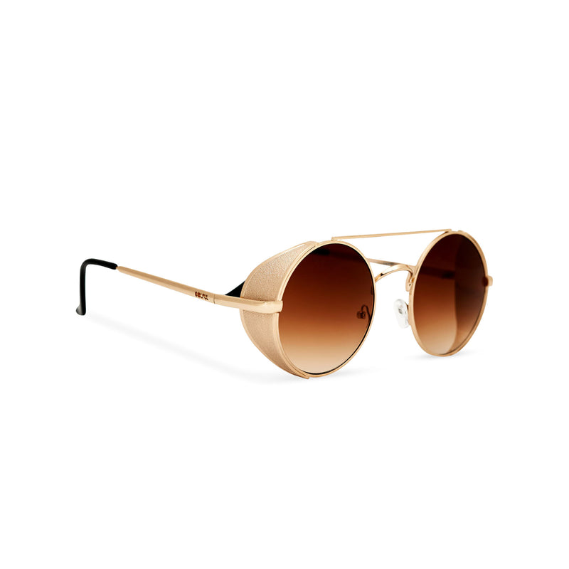 Angle shot gold metal steampunk sunglasses with metal side-shields and brown lens STORMY by SOLFUL Ibiza