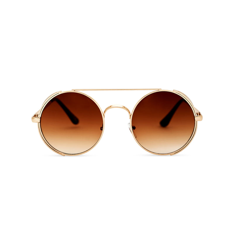 Front gold metal steampunk sunglasses with metal side-shields and brown lens STORMY by SOLFUL Ibiza