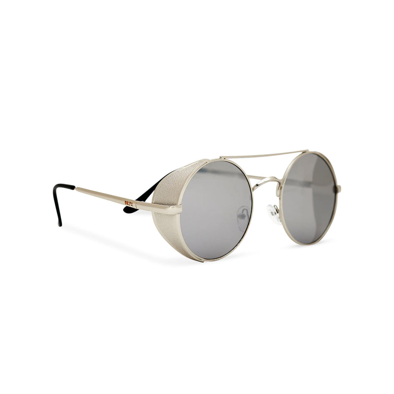 Angle shot silver metal steampunk sunglasses with metal side-shields and grey lens STORMY by SOLFUL Ibiza
