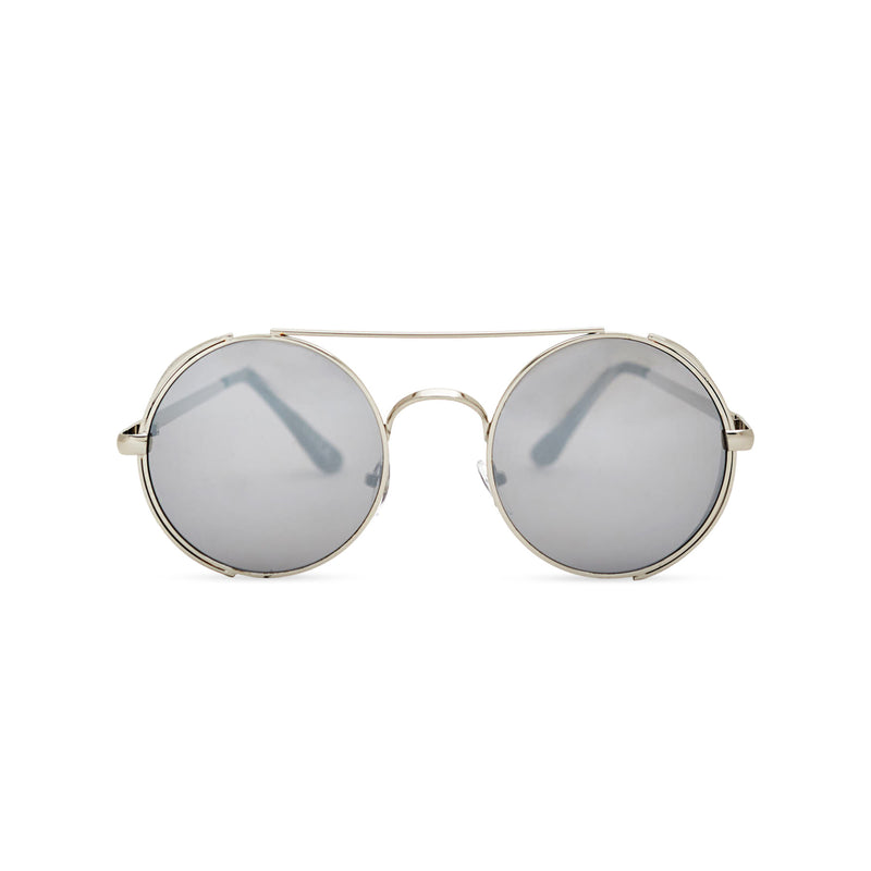 Front shot silver metal steampunk sunglasses with metal side-shields and grey lens STORMY by SOLFUL Ibiza