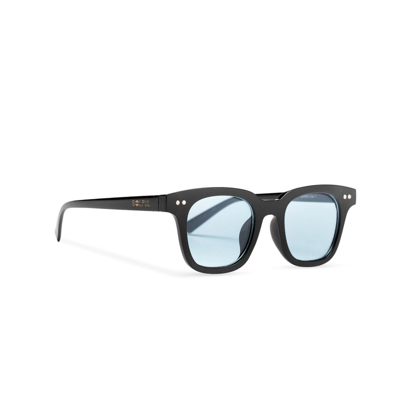 Side of BAHIA sunglasses plastic black frame and blue lens Ibiza style