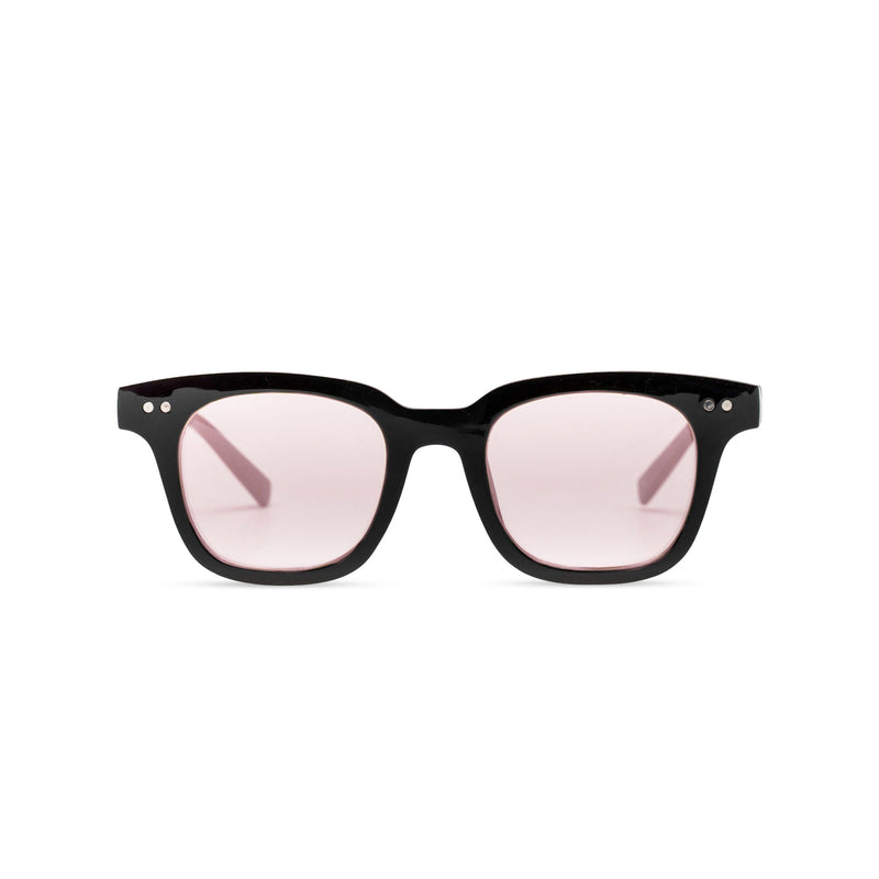 Front of BAHIA sunglasses plastic black frame and pink lens Ibiza style