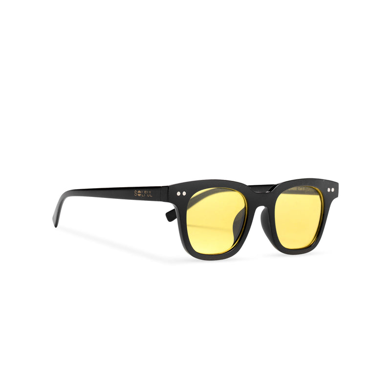 Side of BAHIA sunglasses plastic black frame and yellow lens Ibiza style