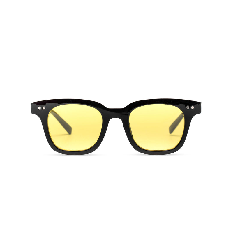 front of BAHIA sunglasses plastic black frame and yellow lens Ibiza style