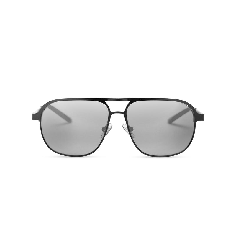 SOLFUL Ibiza Italian aviator style sunglasses black metal frame mirror dark grey lens