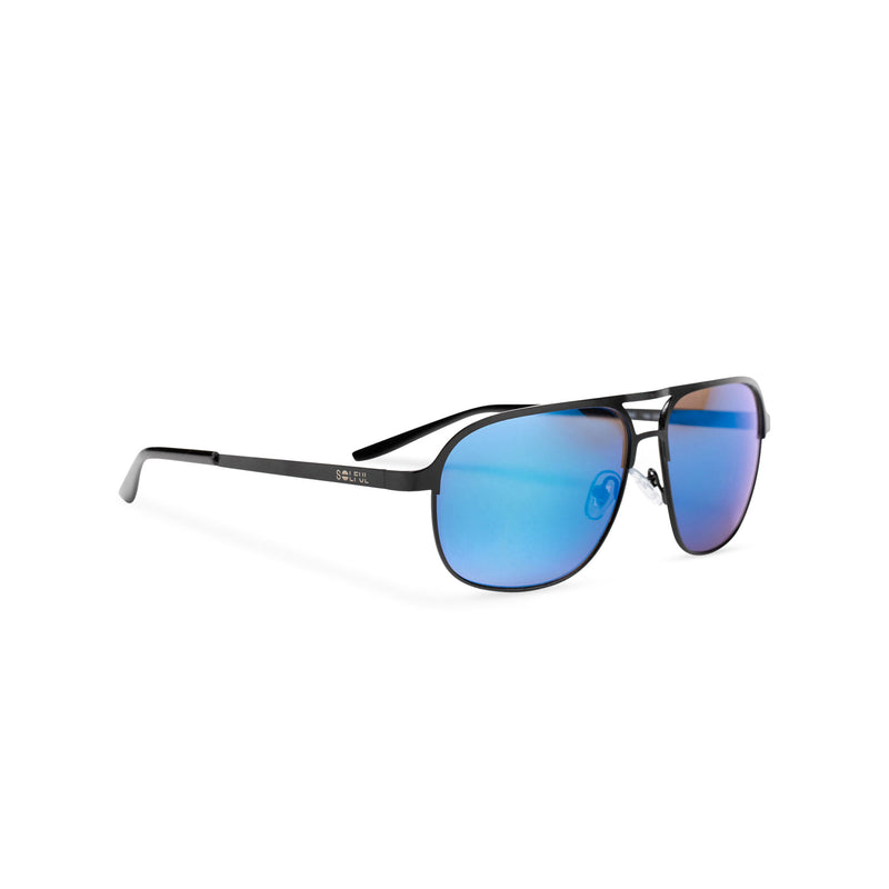 SOLFUL Ibiza Italian aviator style sunglasses black metal frame mirror blue lens side shot