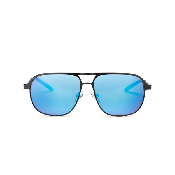 SOLFUL Ibiza Italian aviator style sunglasses black metal frame mirror blue lens