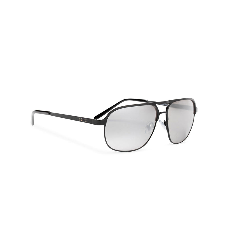 SOLFUL Ibiza Italian aviator style sunglasses black metal frame mirror dark grey lens side view