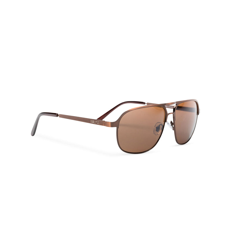 SOLFUL Ibiza Italian aviator style sunglasses bronze metal frame mirror brown lens side