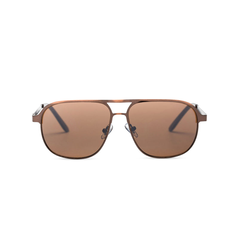 front SOLFUL Ibiza Italian aviator style sunglasses bronze metal frame mirror brown lens