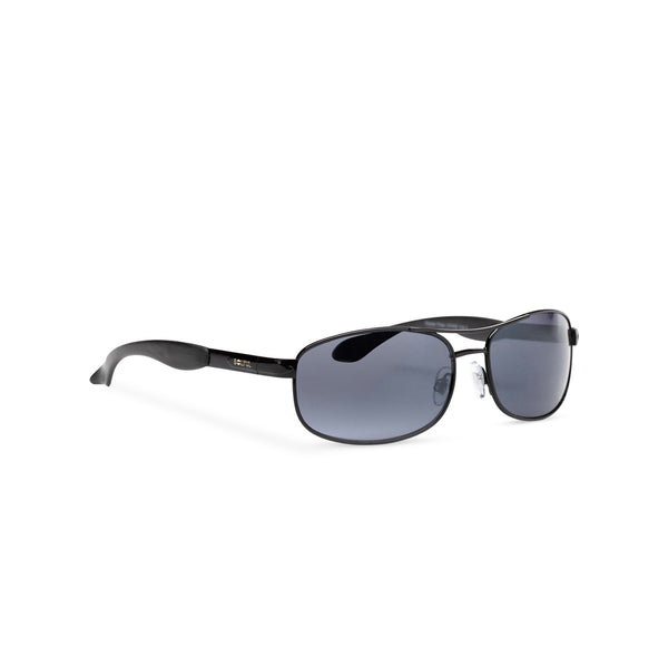 SOLFUL Ibiza manly narrow aviator sunglasses black metal frame and black lens