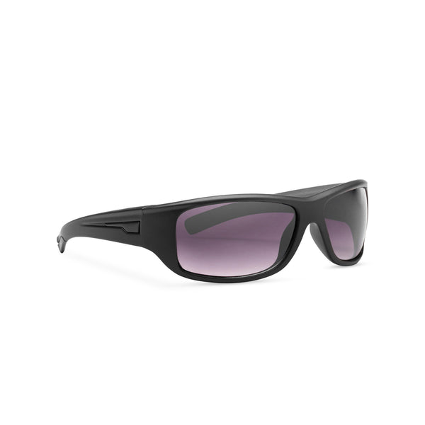 Black frame and black lens active sport sunglasses SOLFUL Ibiza style side shot