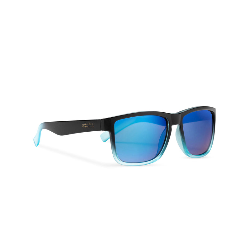 side view of blue lens and plastic frame shades OBEY by SOLFUL Ibiza sunglasses