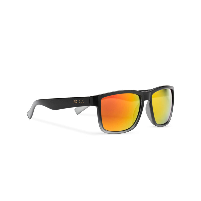 side view of orange lens and plastic frame shades OBEY by SOLFUL Ibiza sunglasses