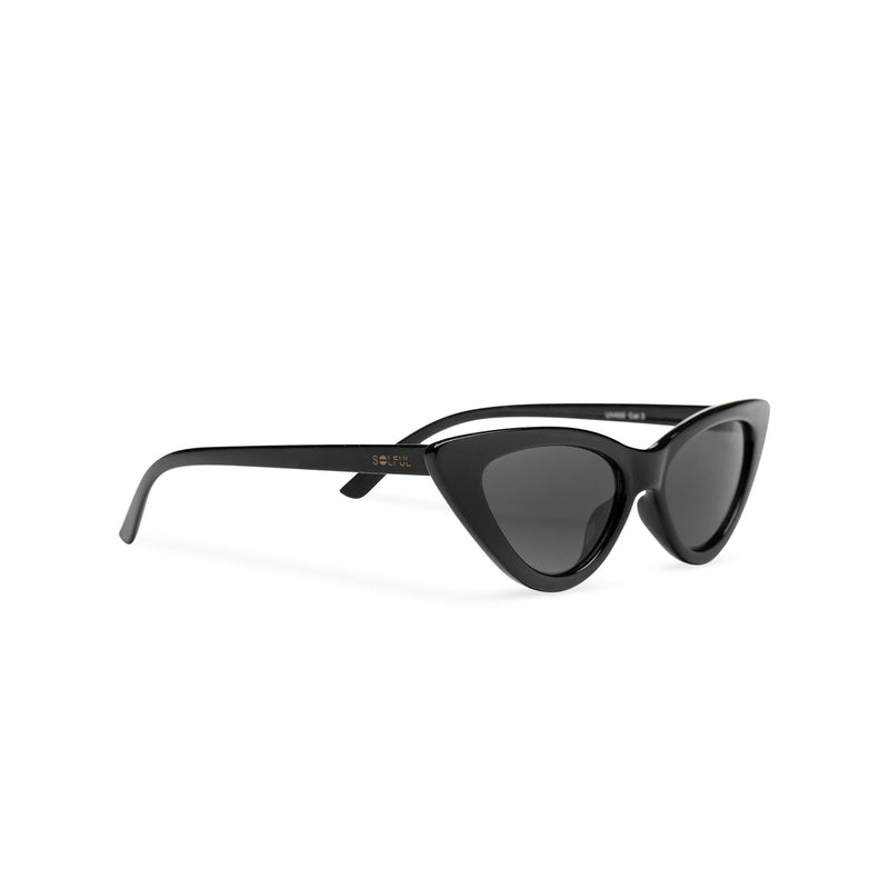 Side view small cat eye sunglasses retro black frame mirror lens SOLFUL Ibiza