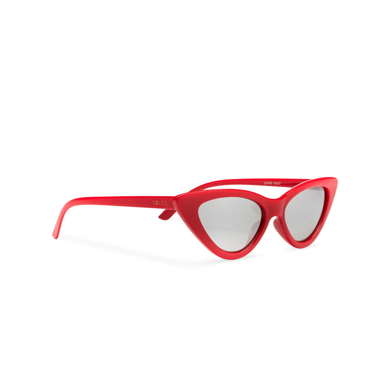 Side view small cat eye sunglasses retro red frame mirror lens SOLFUL Ibiza