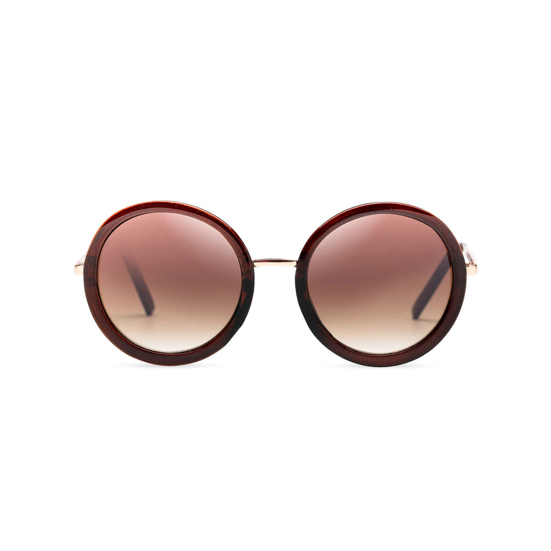 big round dark dark brown lens sunglasses with gold frame and shiny brown rims by SOLFUL Ibiza